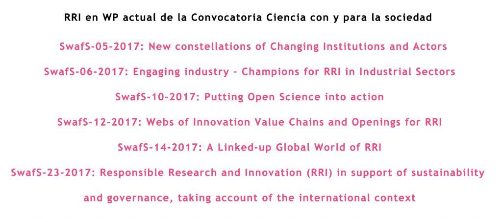 RRI en la convocatoria Ciencia con y para la Sociedad 16/17